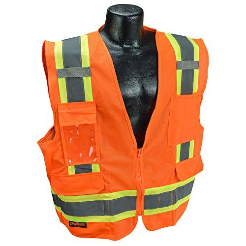 Radians SV6 Two Tone Surveyor Class 2 Safety Vest with Contrasting Trim, Solid Front and Mesh Back, Large, Orange, (Model: SV6OL)