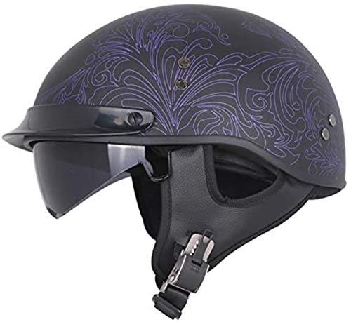 ZCM Bathroom Motorrad-halber Sturzhelm DOT genehmigt Weinlese Harley öffnen Gesichts-Motorrad-Sturzhelm Mofa-Moped-Roller Bobber Cruiser Chopper Biker-Helm for Männer und Frauen, 52-62cm