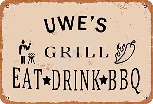 Keely Uwe'S Grill Eat Drink BBQ Metal Vintage Tin Sign Wall Decoration 12x8 inches for Cafe Bars Restaurants Pubs Man Cave Decorative