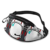 Riñonera para casco de astronauta roja con agujero para auriculares, riñonera para hombres y mujeres con correa ajustable para exteriores