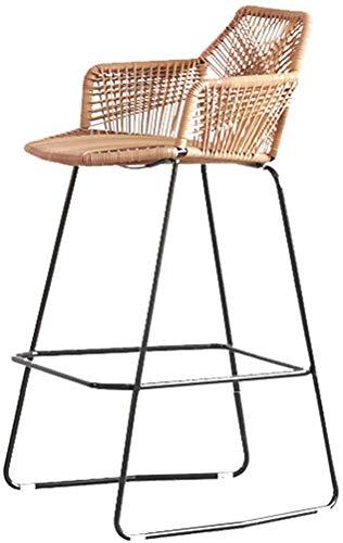 MJYY Bar, cafetería, silla de restaurante, cocina de tendencia y desayuno Taburete de bar Taburete de maquillaje Silla de mostrador Balcón de respaldo alto Asiento de mimbre de ratán 75 cm de alto
