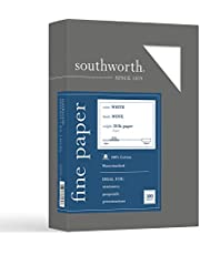 """Southworth 100% Cotton Business Paper, 8.5"""" x 11"""", 20 lb/75 gsm, Wove Finish, White, 500 Sheets - Packaging May Vary (13C)"""