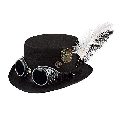 This hat from Boland is the ideal accessory for steampunk costumes The black hat for women is equipped with removable glasses The hat is decorated with a black and white feather and gears Steampunk is the look that combines the past with the future S...