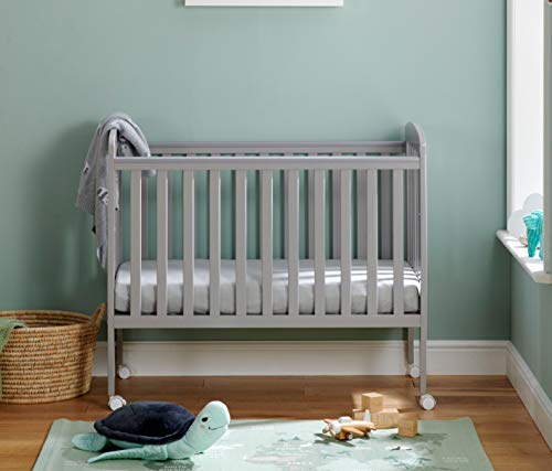 Babymore Space Saver Cot | 4 Adjustable Bed Positions| Super Compact Small Baby Cot | 2 Protective Teething Rails | Removable Wheels Easy Mobility (Grey)