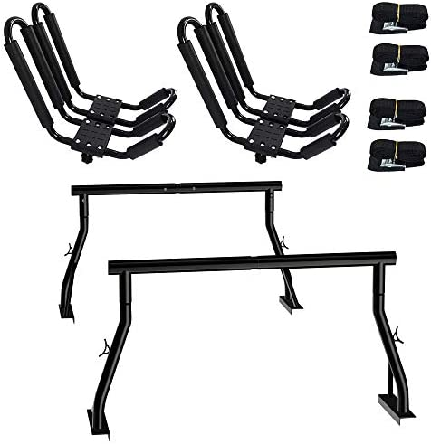 800lbs Capacity Heavy Duty Extendable Universal Pickup Truck Rack Ladder Rack with 2 Sets Kayak product image