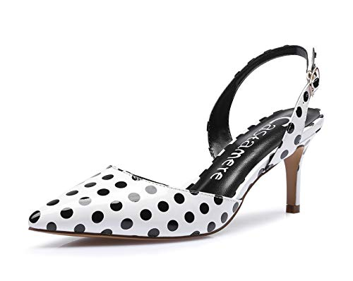CASTAMERE Spitze Slingback Pumps Damen Pointed Toe Kitten Heel Sandalen 6CM Heels Lackleder Weiß Polka Dots Print Schuhe EU 37