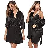 Aibrou Damen Einfarbige Chemise und Robe 2 Stück Set, Nachtkleid und Kimono Set Schwarz S