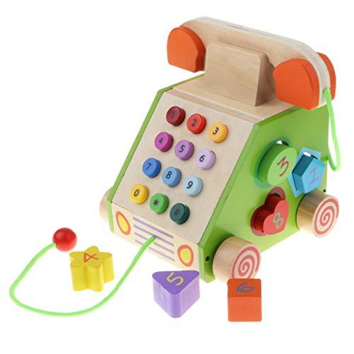 B Blesiya Holz Telefon Spielzeug Kindertelefon Spielzeugtelefon mit Nachzieh und Puzzle Funktionen