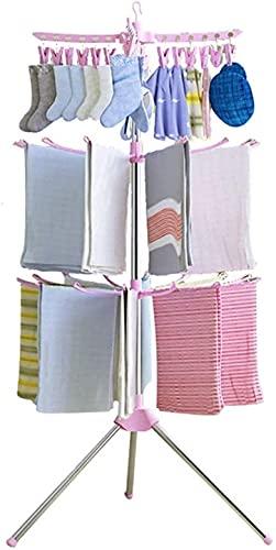 SHUKUILIUDT Tendedero Ropa Plegable Simple Secado Rack Piso Plegable Toalla móvil Lavandería Secado Rack Balcón Perspago Soporte for Ropa Interior de Sol (Color : A)