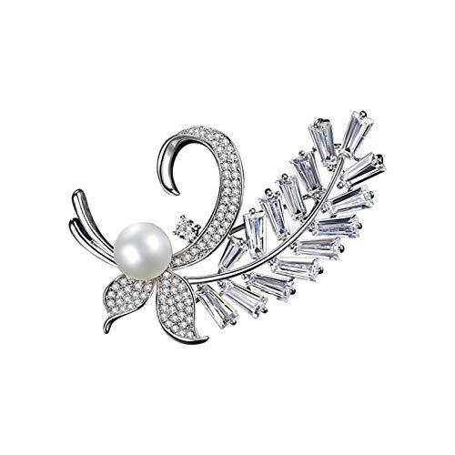 Broche de Niña Tao Joyería del Rhinestone de la Hoja de la Broche Temperamento pretal Pin de la Flor de la Asamblea Occidental (Color : Silver)