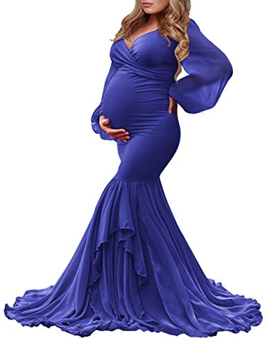 Saslax Long Chiffon Sleeve Tired Mermaid Maternity Dress for Photoshoot Photography Baby Shower Royal Blue Small