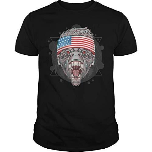 QUEMIN Gorila America USA Flag Camiseta XXL