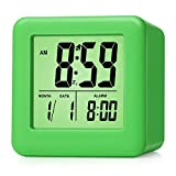 Plumeet Digital Alarm Clocks Travel Clock with Snooze and Green Nightlight - Easy Setting Clock Display Time, Date, Alarm - Ascending Sound - Battery Powered (Green)