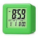 Digital Alarm Clocks - Plumeet Travel Clock with Snooze and Green Nightlight - Easy Setting Clock Display Time, Date, Alarm - Ascending Sound Alarm - Battery Powered (Green)