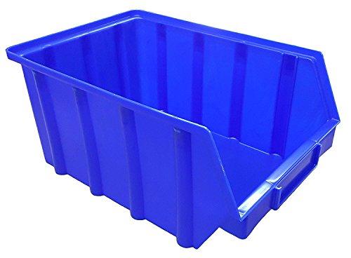 15 Stück Stapelboxen – blau – Größe 4 (222 x 340 x 157 mm) - stapelbar/Sichtbox/Regalbox/Lagerbox