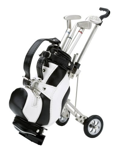 Silverline-Golf GmbH Miniatur-Caddywagen mit Ledergolftasche und drei Golfschläger-Kugelschreibern