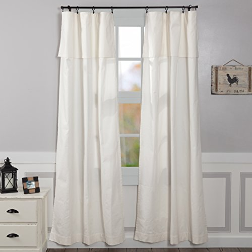 "Piper Classics Silo Hill 96"" Panel w/ Attached Valance, Set/2, Farmhouse Drop Cloth Style Drape Curtains, Antique White"