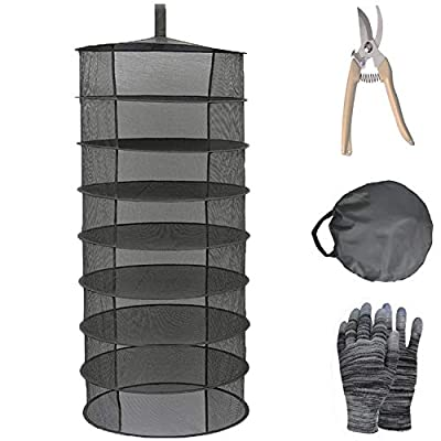 YOUSHENGER 8 Layer 2ft Opening Herb Drying Rack Net Black Mesh Hanging Weed Drying Rack net with Garden Gloves and Pruning Scissors Solar Drying Rack for Hydroponic Plant Herb and Bud (black)