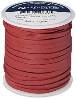 Deerskin Lace Leather Cord String RED 50 Feet Spool 1/8 Inch