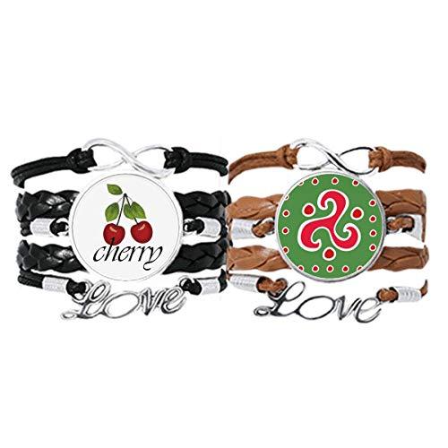 Bestchong Spiral-Dart Mexiko Totems Antike Zivilisation Armband Handschlaufe Lederband Cherry Love Armband Doppelset