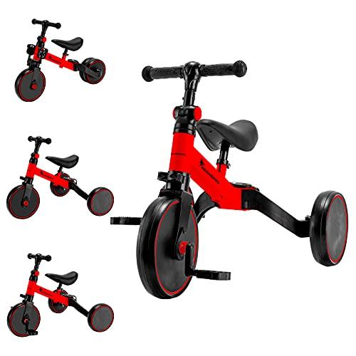 MEICHEPRO 三輪車 子供用 3 in1 ベビーウォーカー ペダルなし三輪車1-5歳子供用 高さ調整可能 (レッド) (レッド)