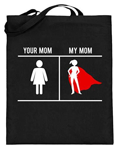 Your Mom My Mom - Symbol für Damentoiletten vs. Superwoman-Symbol - Design für stolze Söhne - Jutebeutel (mit langen Henkeln)