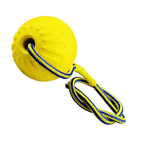 Finoki Wurfball, Hund Gummiball mit Elastische Seil Naturgummiball Welpenspielzeug Hundespielzeug Ball (gelb)