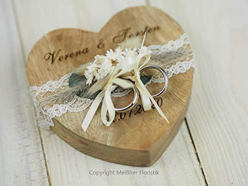 Ringkissen Holz Herz boho Trockenblumen