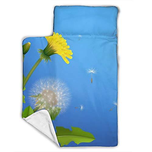 Cavdwa Warme, super weiche Anti-Pilling Flanell Baby Schlafmatte mit Schlafmatte, Decke, Kissen, 109,9 x 53,3 cm, Pusteblumensträucher, Fliegende Samen, Blauer Hintergrund
