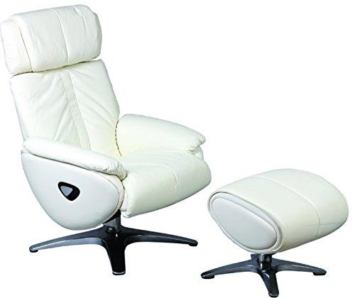 PEGANE Fauteuil Relax + Repose-Pied en Cuir et PVC Coloris Blanc