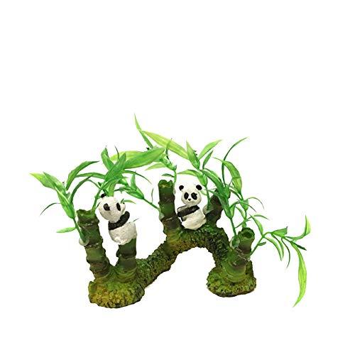 guojiwu 1PC Decor Acquario Fish Tank Ornamenti Resina Panda Artificiale e bambù View Acquario Ornamenti Fish Tank Forniture Scenario Tatuaggi Paesaggio