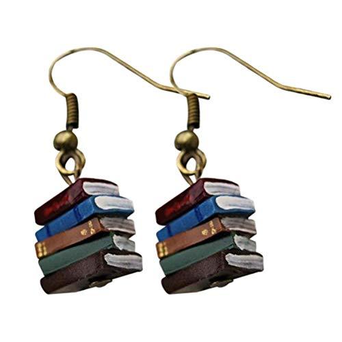 Jsdufs Stack of Books Earrings, Book Earrings Studs for Women Multicolored Book Earrings, Retro Library Pendant Earrings, Book Lover Drop Earrings, Women Retro Jewelry