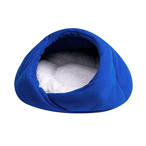 Cat Bed, Fleece Tunne - Best for Indoor Cats Kitten Pet Self Warming Igloo Covered Mat Pad Comfortable Washable, Multi-Size, Blue