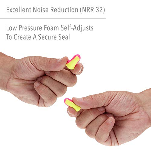 Howard Leight by Honeywell Laser Lite High Visibility Disposable Foam Earplugs, Pink/Yellow , 200-Pairs (LL-1) - 3301105