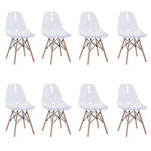 Uderkiny 8er Set Transparente Stühle mit Buchenbeinen geeignet für Esszimmerstühle in der Wohnküche und im Büro (Transparent-8)