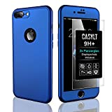 CASYLT [kompatibel für iPhone 7 Plus & iPhone 8 Plus] 360 Grad Fullbody Soft-Case Hülle [inkl. 2X Panzerglas] Komplettschutz TPU Handyhülle in Blau