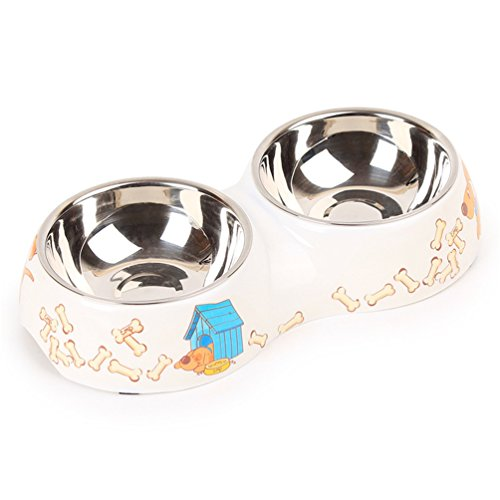 UMALL Fit+fun Napf-Set Schlichter Melamin-Doppelnapf mit integrierten Edelstahlnäpfen Hundenapf Katzennapf Futternapf Wassernapf Hochwertige Schüssel Welpennapf (Durchmesser 30cm)