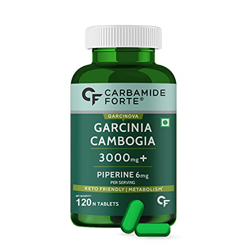 Carbamide Forte Garcinia Cambogia 3000mg for weight loss supplement, 60% HCA & Chromium Per Serving - 120 Veg Tablets