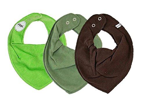 Pippi Pippi Halstuch 3er Set Baby Halstücher Dreieckstücher Uni (grün-Oliv-khakibraun)