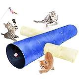 Túnel para Gatos, 3 Vías Gato Túnels Juguete del Gato Túnel Gato Divertido Juego Túnel Casa del Laberinto del Juguete con Pompón y Campanas para Gato Gatito Cachorro Conejo