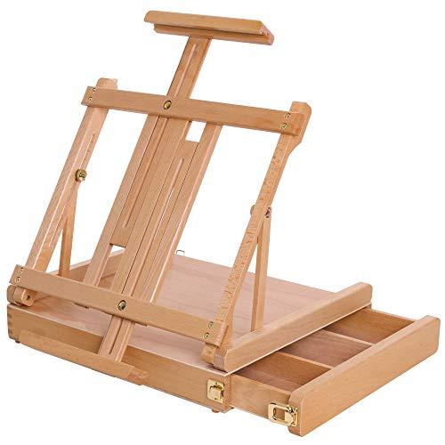 U.S. Art Supply La Jolla Large Adjustable Wood Table Sketchbox Easel, Premium Beechwood - Portable Wooden Artist Desktop Drawer Case - Store Organize Paint Markers, Brushes - Tabletop Drawing Painting