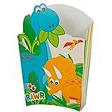 Mylin Caja Para Papas de Dinosaurio. Ideal para Decorar Mesas de Dulces, Cumpleaños, Fiestas, Botanas. Tamaño: 13cm Alto. Pack 6pz