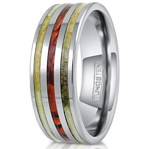 King's Cross Personalized Engraved 8mm Silver Tungsten Wedding Band w/Deer Antler & Red Leaf Camo Inlays. (12)