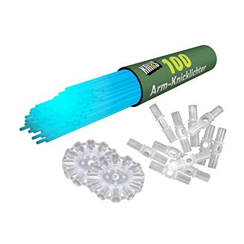 KNIXS 100x Arm-Knicklichter in blau inkl. 100 x 3D-Verbinder und je 2 x Ballverbinder und 7-Lochverbinder für Party, Festival, Geburtstag oder als Dekoration, geprüfte Markenqualität