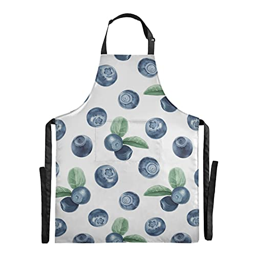 AQQA Sweet Sour Art Summer Fruit Blueberry Chef Bbq Tabliers Réglable 88x68cm Tablier De Cuisine Pour Hommes Waterdrop Cook Tablier Pour Hommes Femmes