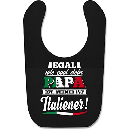 Shirtracer Sprüche Baby - Egal wie Cool dein Papa meiner ist Italiener - Unisize - Schwarz - italien baby - BZ12 - Baby Lätzchen Baumwolle