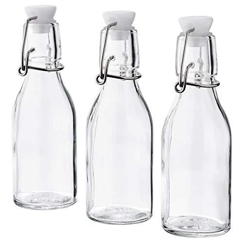 KORKEN Ikea Botellas con cierre, 15 cl, juego de 3, cristal transparente y metal, tarros