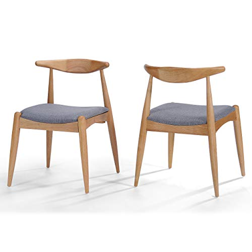 Sandra Grey Fabric with Oak Finish Mid Century Modern Dining Chairs (Set of 2)
