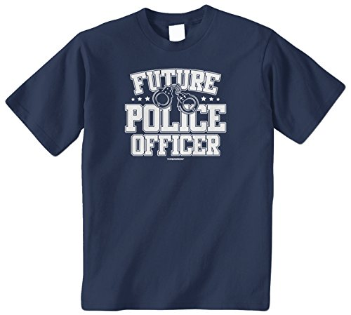 Threadrock Big Boys' Future Police Officer Youth T-Shirt S Navy