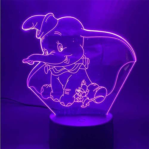 3D Nachtlicht Farben ändern Nachttischlampe Dumbo 7 Farben mit Fernbedienung ändern für Kinder Jungen Mädchen Teen Geschenk,Mit Fernbedienungsschalter
